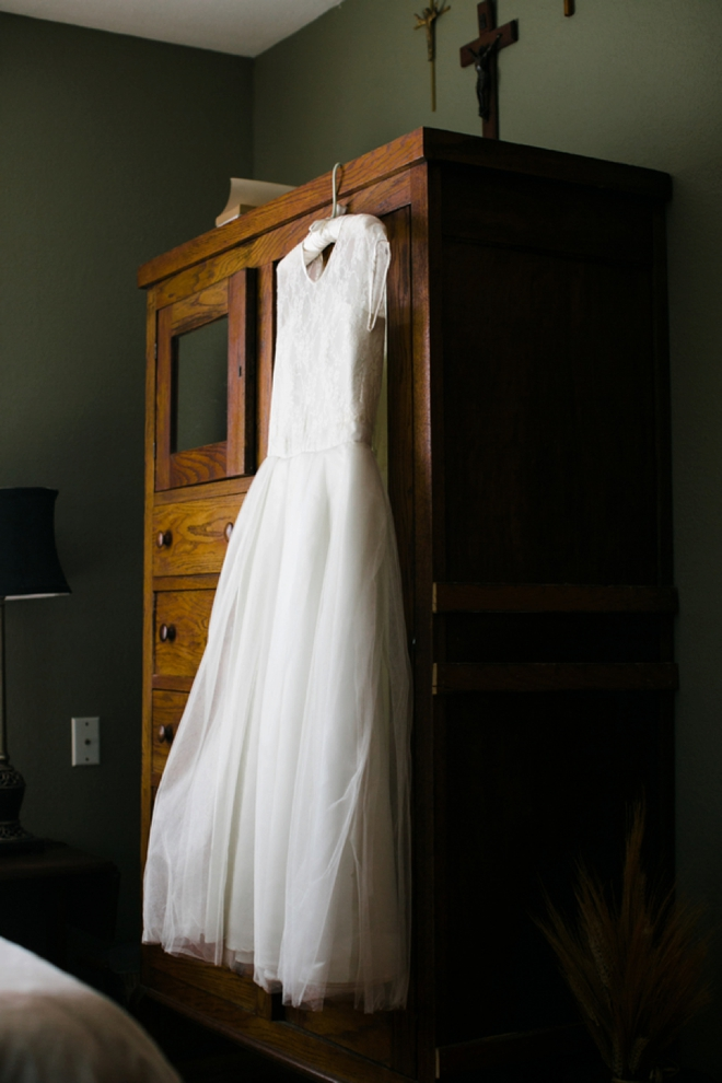 Refashioned wedding gown from mothers dress