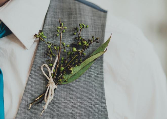 DIY eucalyptus boutonniere