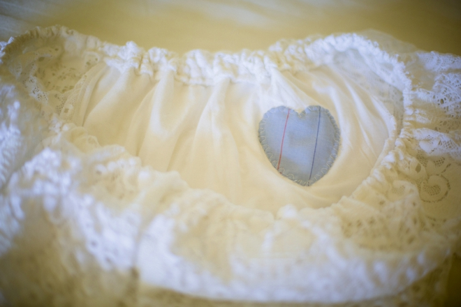 Dad's work shirt heart sewn into the brides dress