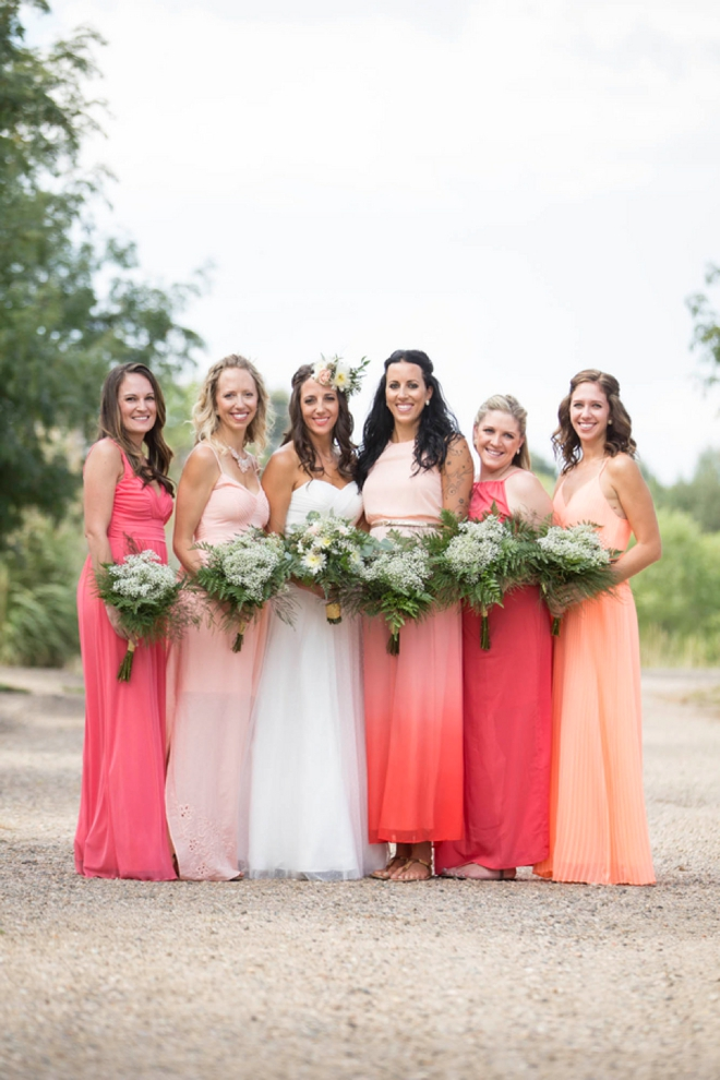 Gorgeous coral ombre bridesmaids