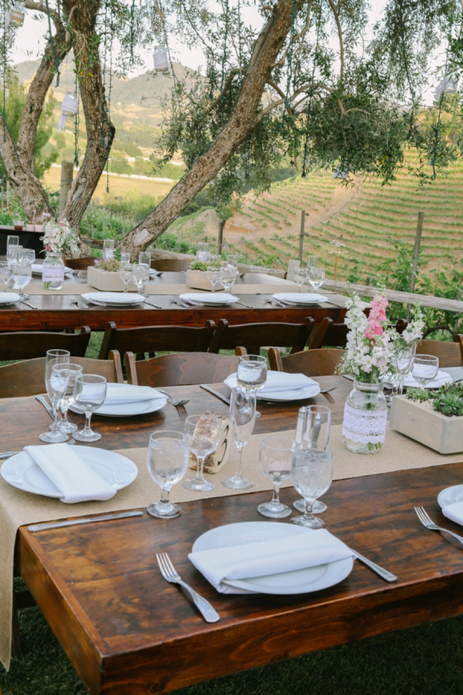 Rustic wooden reception tables