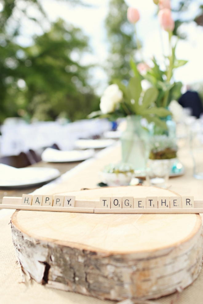 Happy Together, scrabble tile wedding decor