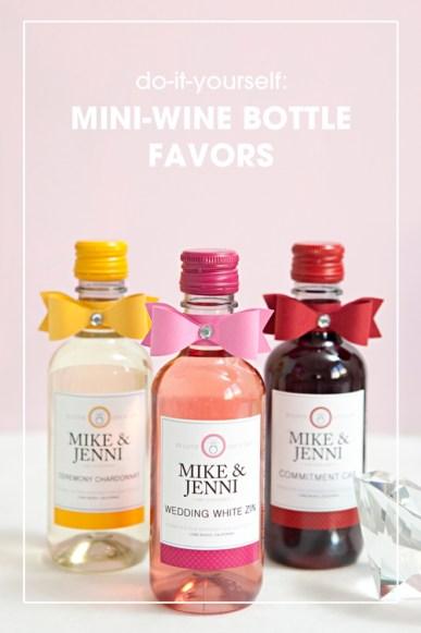 DIY mini-wine bottle wedding favors