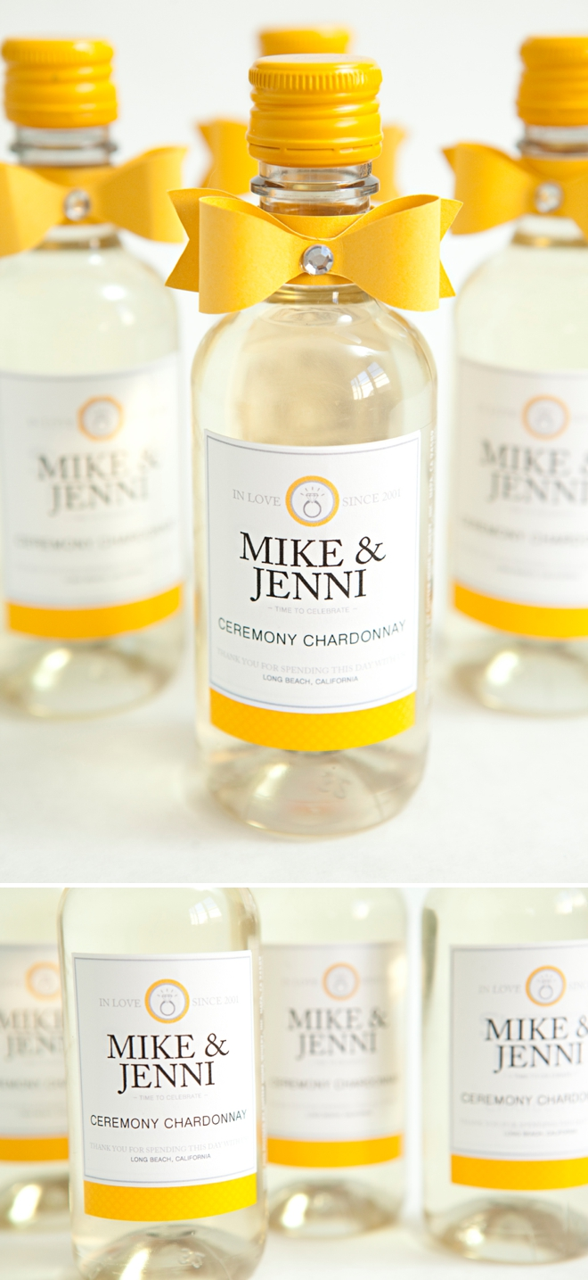 Learn how to make these chic wine bottle wedding favors!