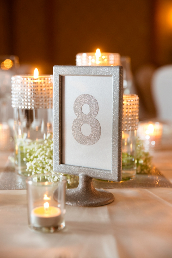 DIY glitter table numbers
