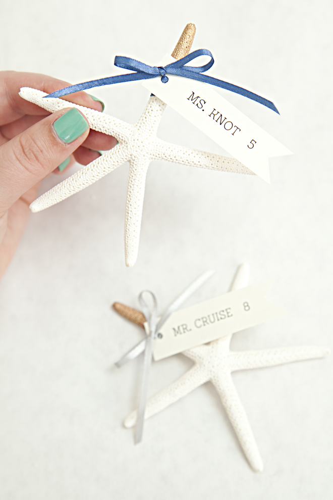 DIY Gold-tipped starfish seating card favors