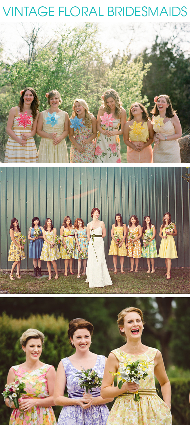 Tips and inspiration for making floral bridesmaid dresses work vintage floral bridesmaid inspiration ombrellifo Image collections