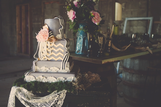 Gray and gold chevron cake
