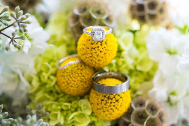 Wedding ring shot on wedding bouquet