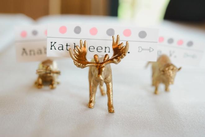 Gold animal seating cards