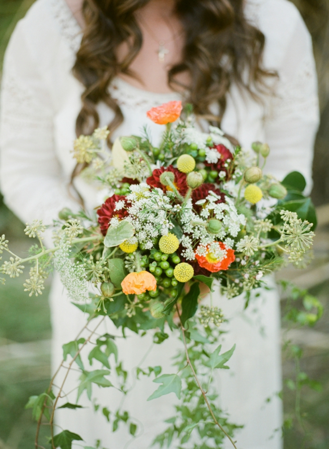Amazing, garden inspired wedding bouquet