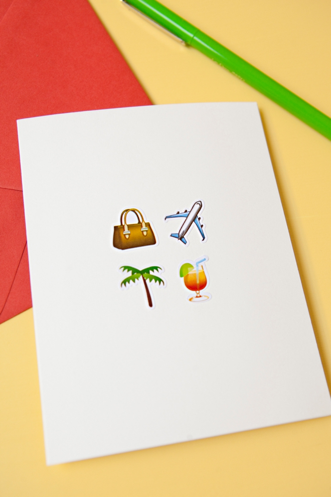 DIY awesome Emoji honeymoon greeting card!