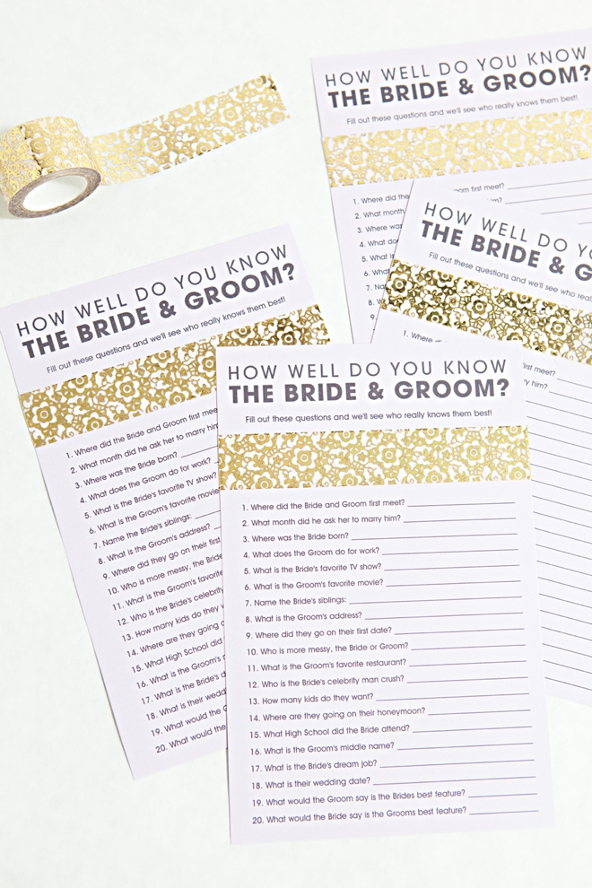 Free Printable How Well Do You Know The Bride and Groom Game