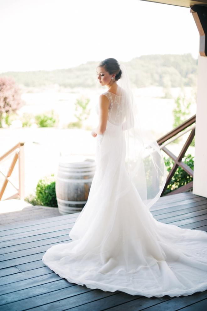 Stunning lace back wedding dress