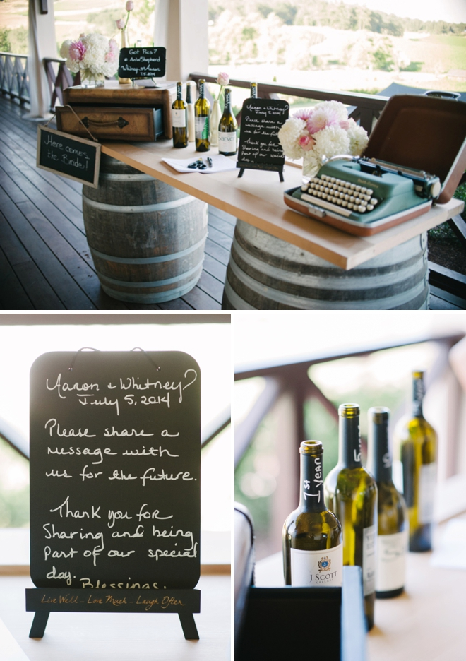 Wine bottle time capsule guest book