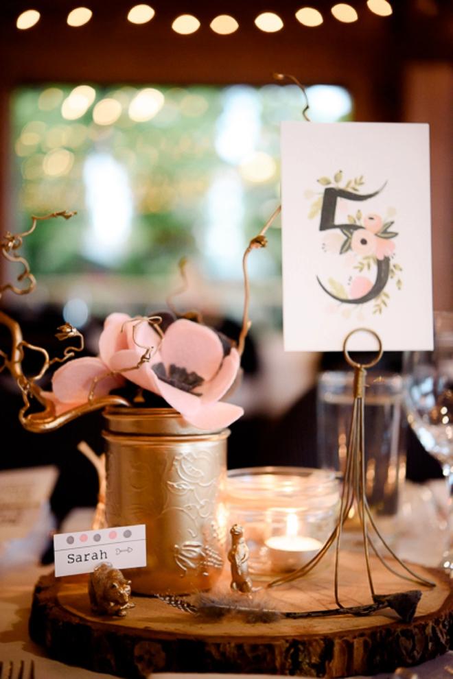 DIY felt flower wedding decor and table number