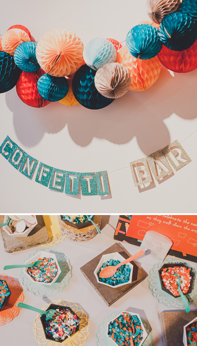 Bright wedding confetti bar
