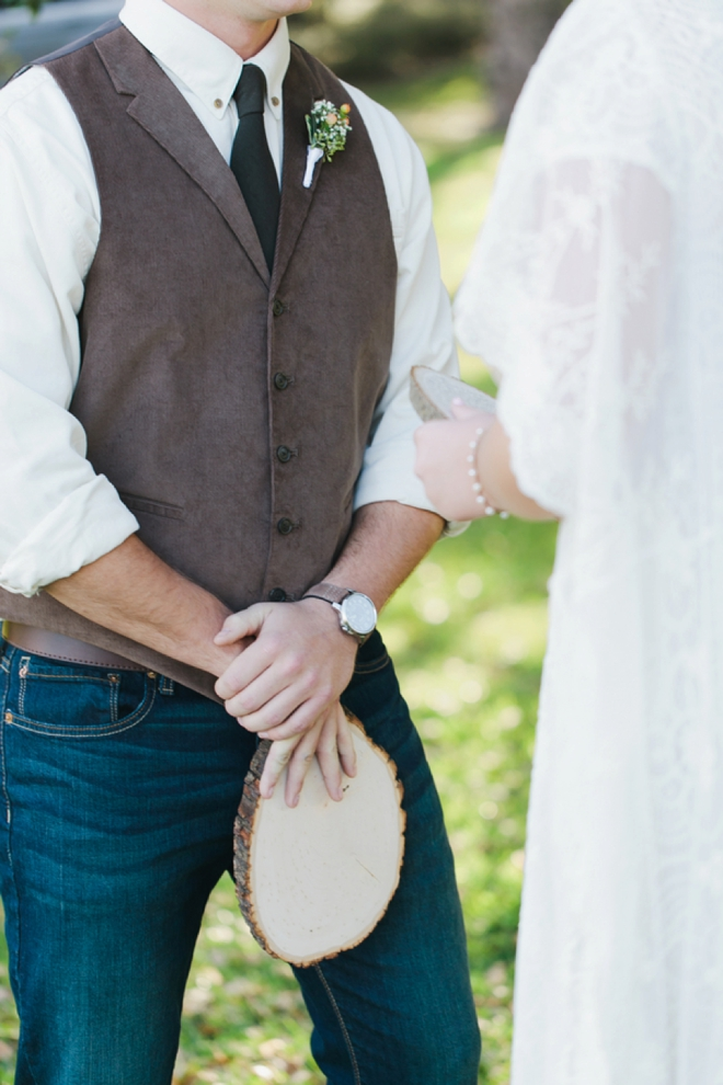 Vows written on wood plaques