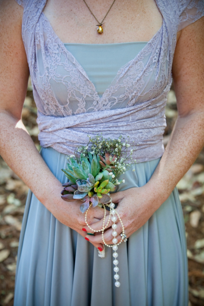 Adorable, small succulent bridesmaid bouquet with pearls