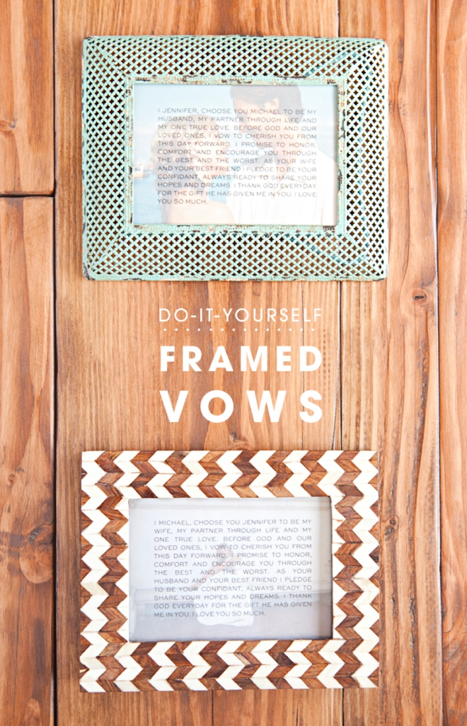 DIY idea for easily framing your wedding vows!