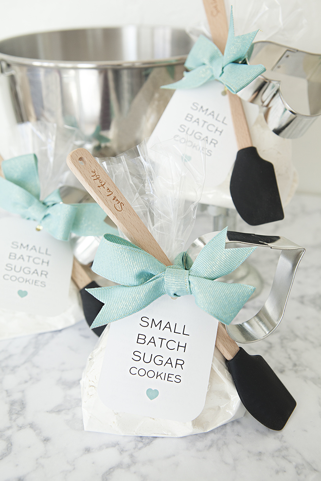 DIY - Small Batch Sugar Cookie Mix Favor with mini-spatula and heart cookie cutter!