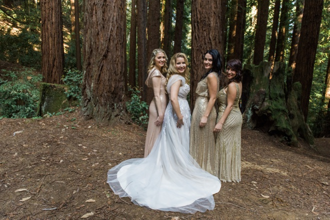 Bride with her mismatched sequin bridesmaids
