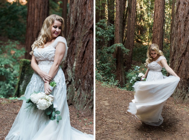 Gorgeous forest bride in a Hayley Paige gown