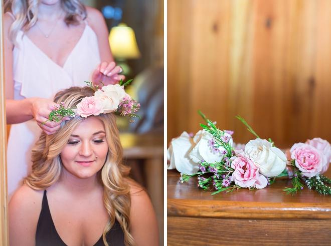 Bride wearing a flower crown