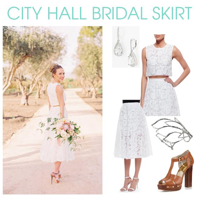 Bridal Skirt for City Hall Wedding