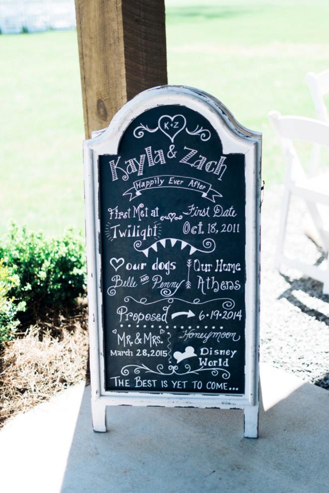 Kayla and Zach's love story sign!