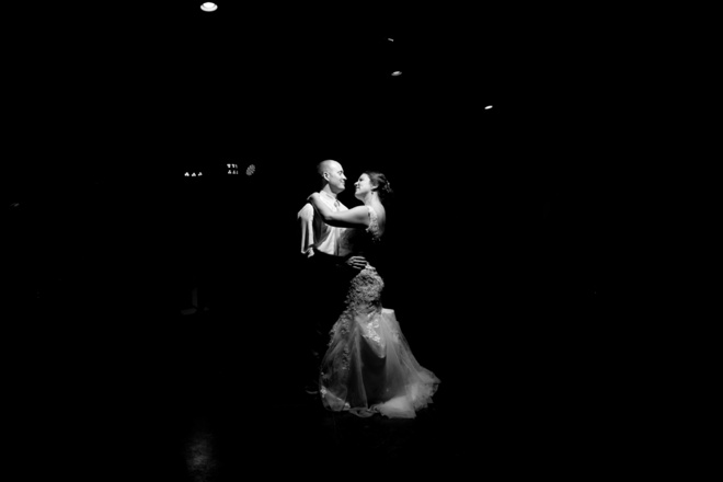 Gorgeous silhouette dancing picture of the bride and groom!