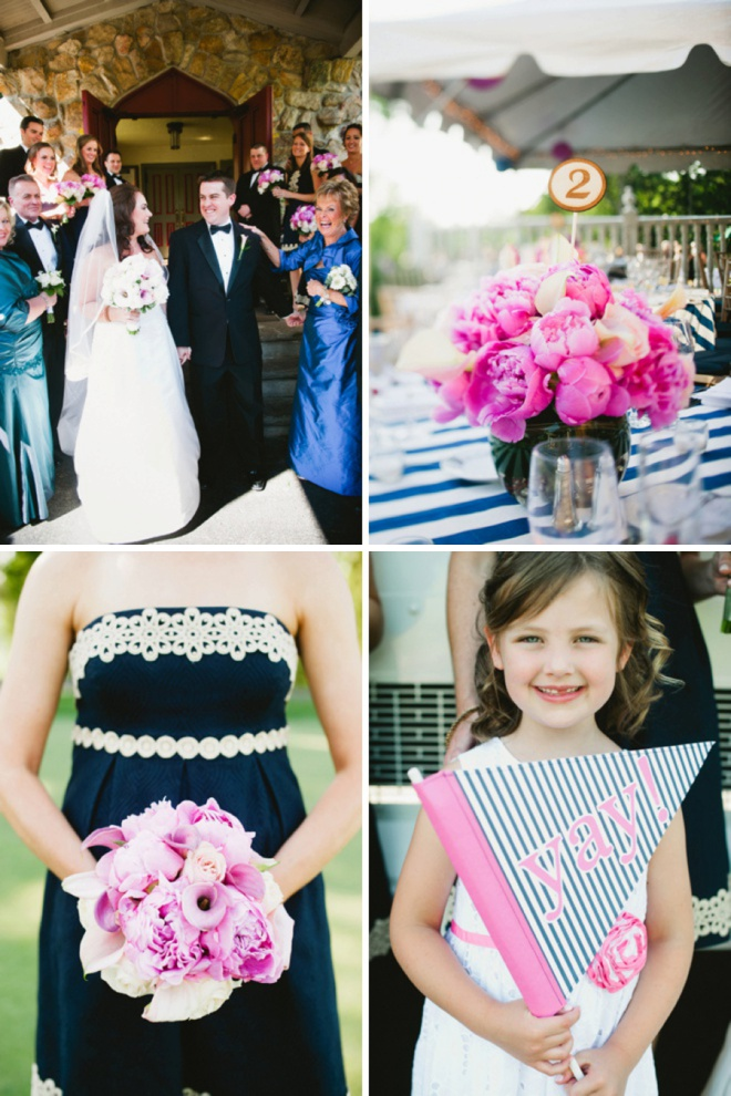 Awesome bright pink, navy blue and green DIY wedding!