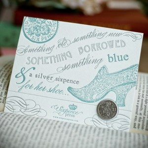 Darling Something Old, New, Borrowed, Blue Card from Sixpence Press via Etsy