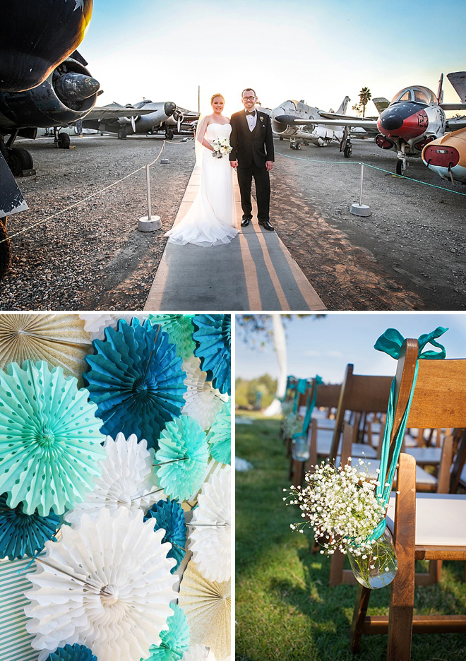 Awesome turquoise, blue and white DIY wedding at an aircraft museum!