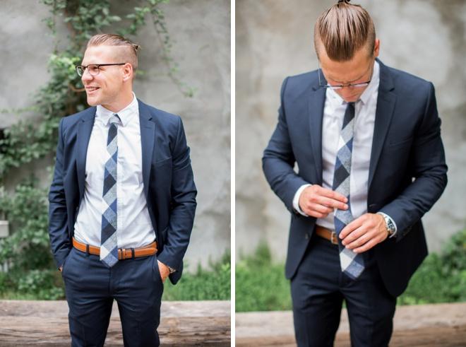 Navy Suit, brown belt, blue striped tie; Groom Style.
