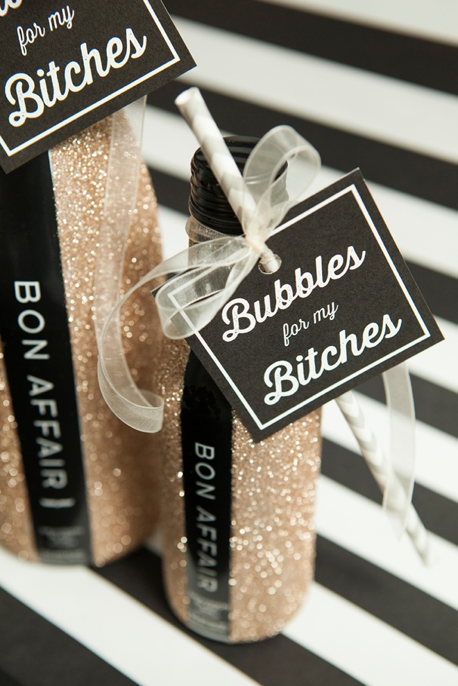 DIY glitter bottles and Bubbles For My Bitches tags - so cute!