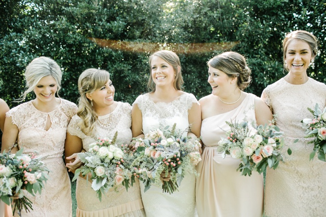 Gorgeous pale pink + ivory bridesmaids dresses...
