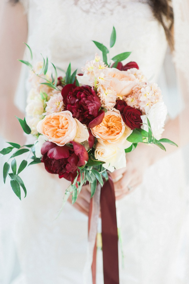 Stunning peony, cabbage rose and eucalyptus bridal bouquet