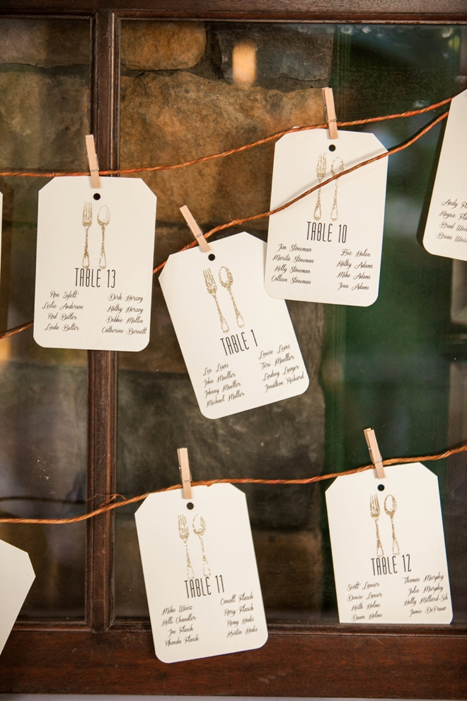 Darling handmade fork and spoon seating cards.