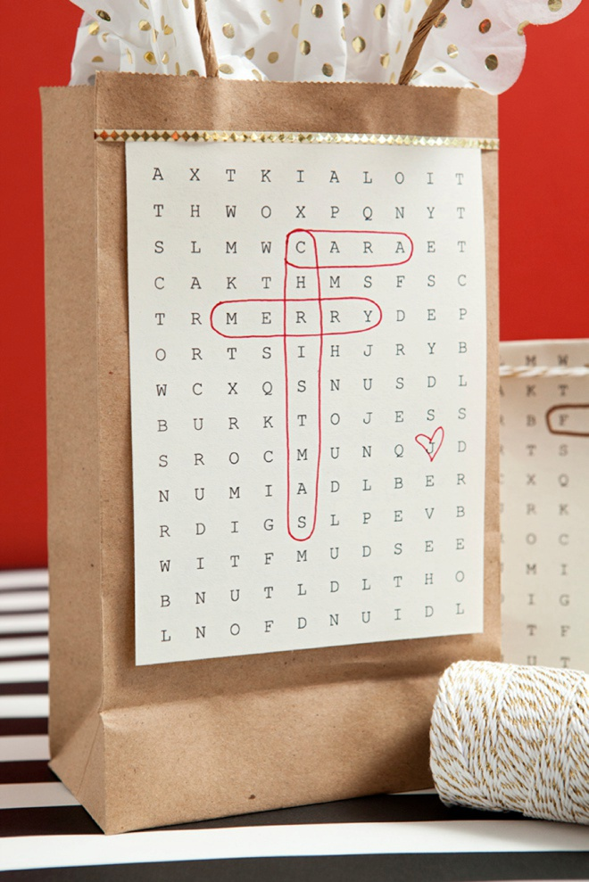 Awesome gift wrap idea using free, edit and print word search paper!