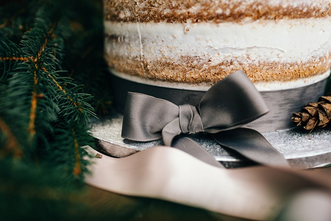 Adorable grey ribbon tied rustic wedding cake!