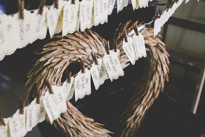 Love these rustic DIY wedding escort cards!
