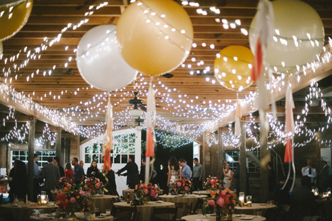 Lights and balloons make for whimsical wedding decor!