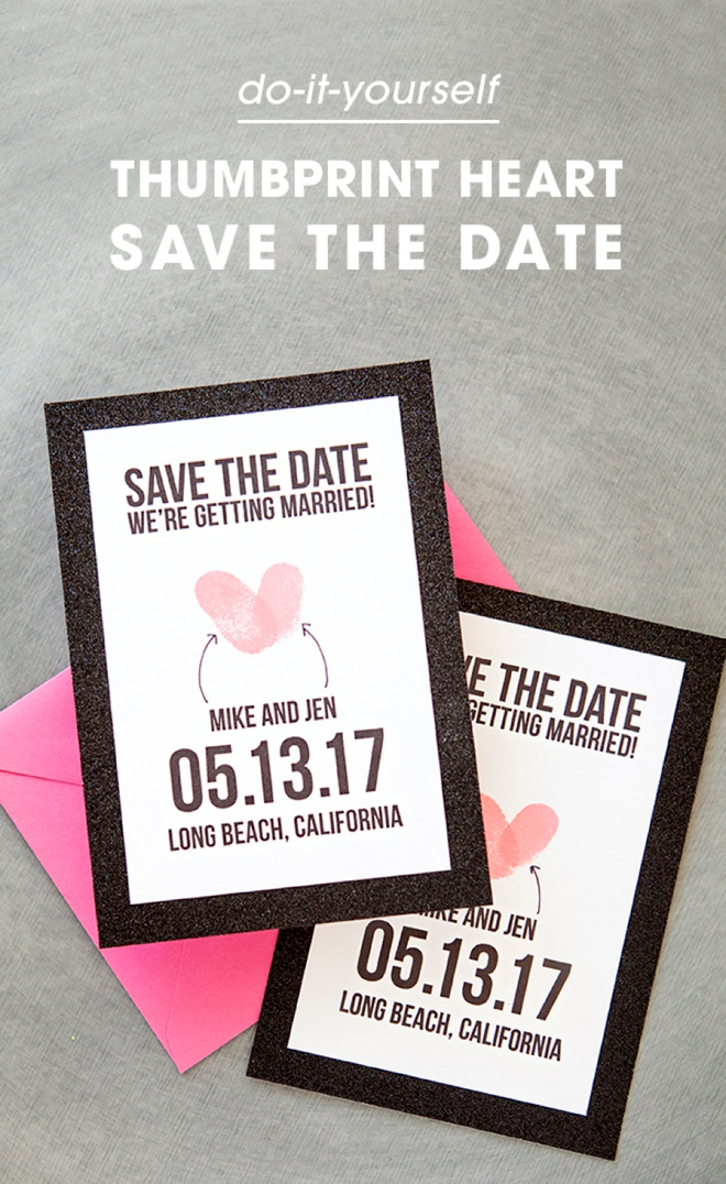 Make your own thumbprint heart save the dates adorable free save the date invitations using thumbprints solutioingenieria Images