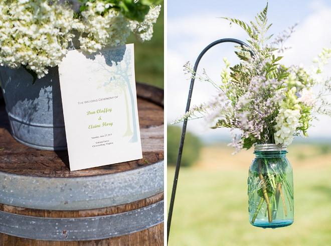 Love these darling details at this rustic DIY wedding!