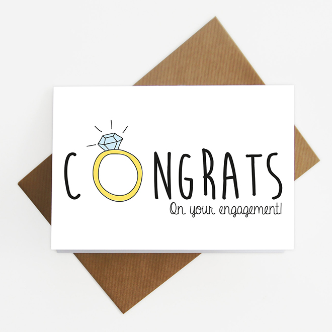 Congrats on your engagement card, awesome bride-to-be gift!