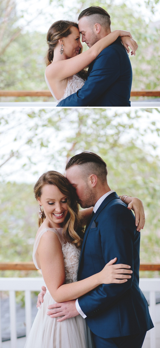 We're swooning over this front porch first touch before the ceremony!