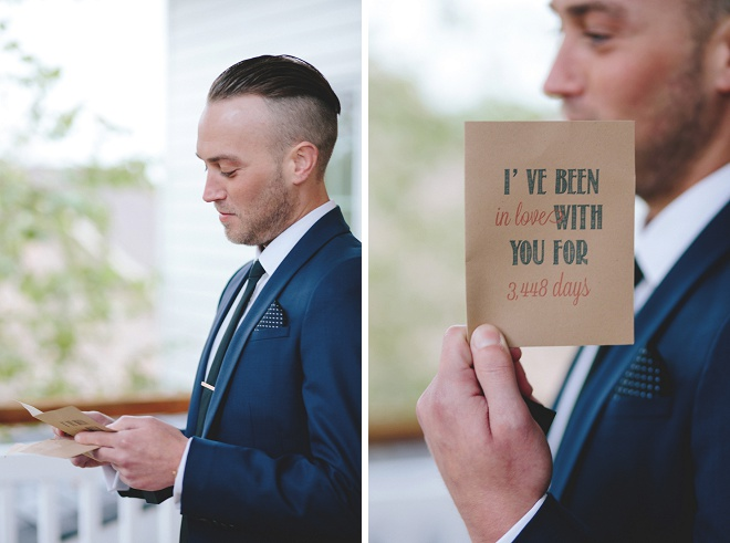 How sweet is this first touch wedding card for her Groom?! Swoon!