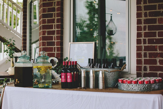 Awesome self-service style drink bar for a wedding!