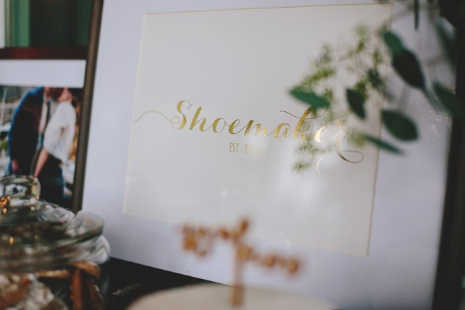 Gold last name print by Foiled Prints, such a great idea for wedding decor!